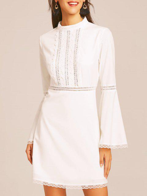 Lace Trim Bell Sleeve Flare Dress - WHITE XL