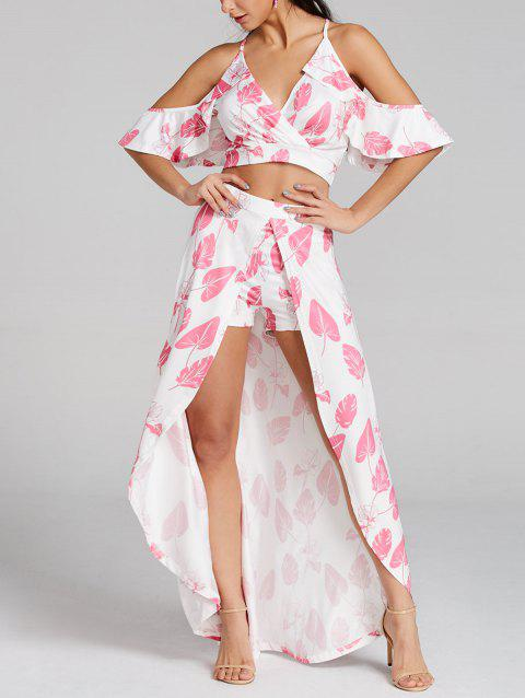 Leaves Printed Cropped Top and Maxi Skirted Shorts - LIGHT PINK M