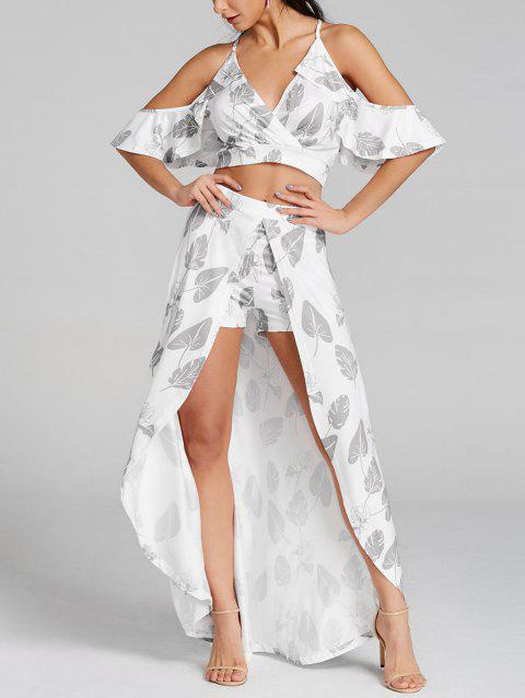 Leaves Printed Cropped Top and Maxi Skirted Shorts - GRAY M