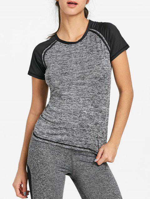 Heather Raglan Sleeve Workout T-shirt - FEATHER GRAY XL