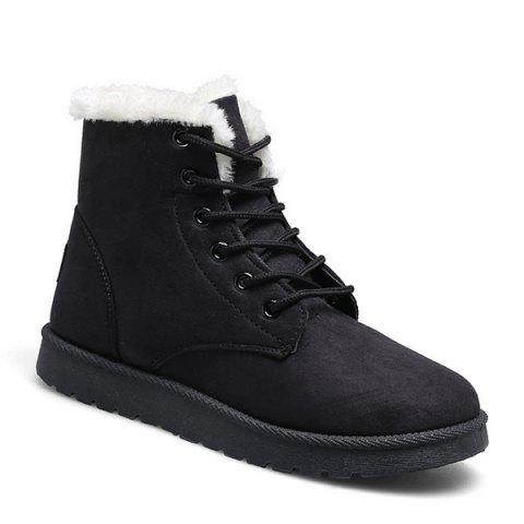 Faux Fur Lined Flat Ankle Boots - BLACK 39