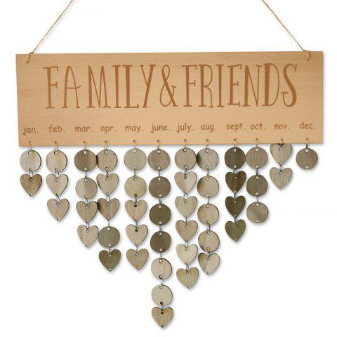 Wooden DIY Family and Friends Birthday Reminder Hanging Plaque Calendar - ORANGE