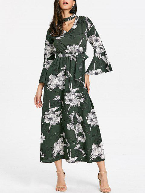 Flare Sleeve Cut Out Floral Print Dress - GREEN S