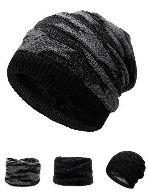 Multifunctional Ponytail Thicken Knitted Beanie Hat - BLACK