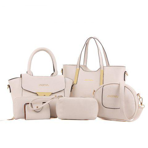 Metal 6 Pieces Letter Shoulder Bag Set - OFF WHITE