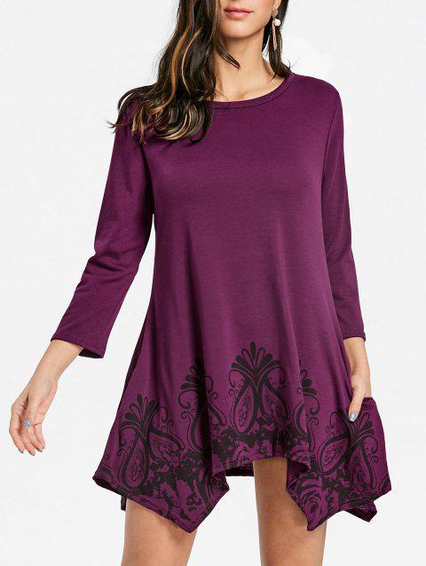 Floral Print Handkerchief Pockets Dress - PURPLE RED L