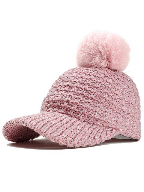 Winter Sequins Crochet Knitted Pom Baseball Hat - PINK