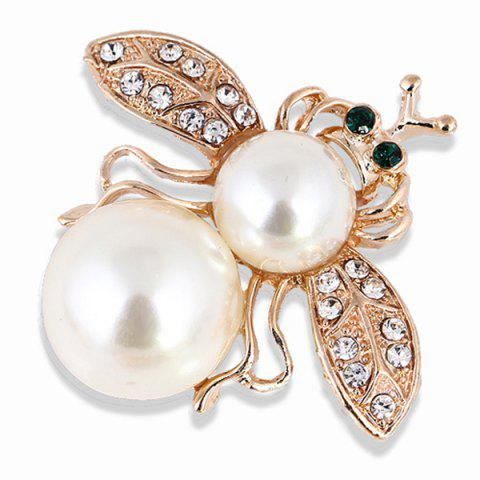 Rhinestone Alloy Faux Pearl Insect Brooch - GOLDEN