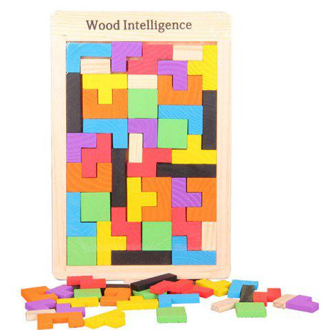 Wood Intelligence Early Educational Toy Tetris Puzzle Building Blocks - COLORFUL GEOMETRIC 27*18*1CM