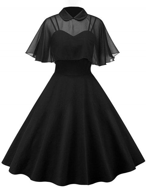 Vintage Pin Up Dress With Mesh Cape - BLACK 2XL