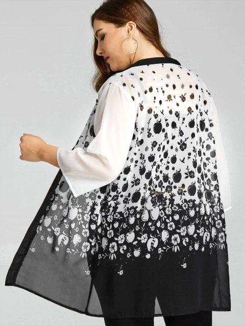 Plus Size Sheer Monochrome Apples Kimono - WHITE/BLACK 2XL
