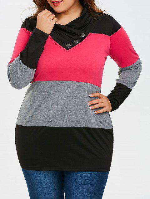 Plus Size Heaps Collar Long Sleeve T-shirt - COLORMIX 5XL