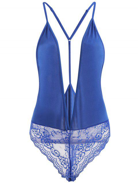 Lace Insert Plunge Neck Cami Teddy - BLUE M