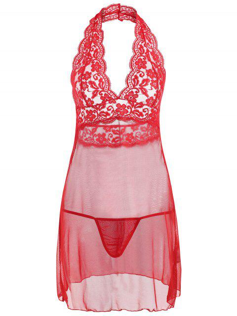 Halter Lace Mesh Low Back Babydoll - RED XL