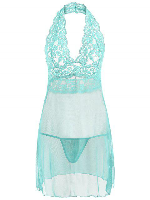 Halter Lace Mesh Low Back Babydoll - LAKE GREEN S