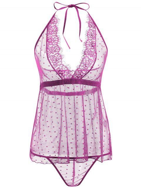 Lace Sheer Low Back Babydoll - PURPLE M