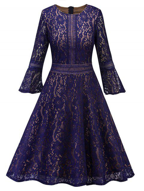 Bell Sleeve Fit and Flare Lace Dress - PURPLE S
