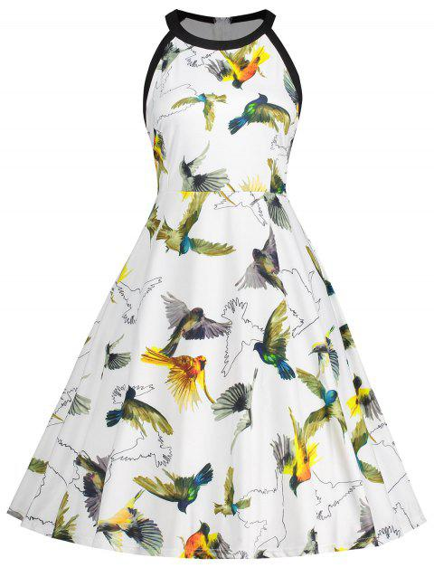 Sleeveless Bird Print Plus Size Dress - WHITE 5XL