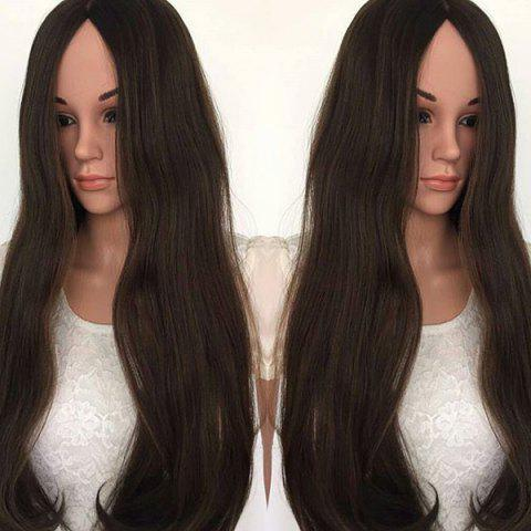 Center Parting Long Natural Straight Synthetic Fiber Wig - DEEP BROWN