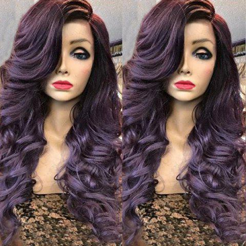 Custom 2019 Deep Side Parting Long Wavy Curly Synthetic Fiber Wig