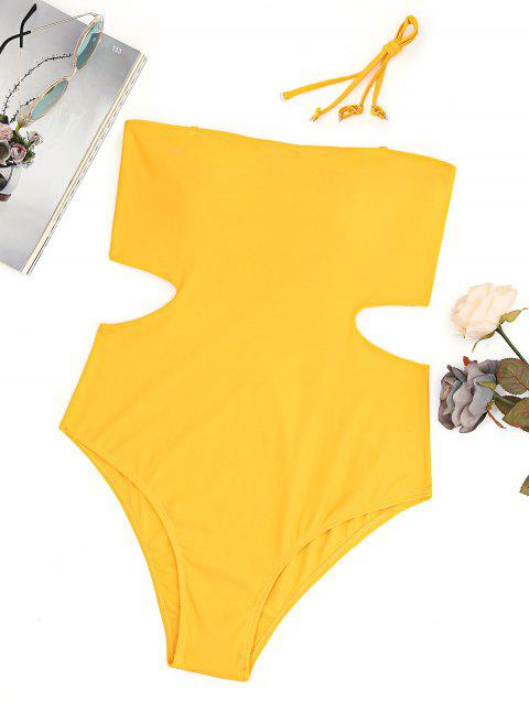 High Leg Cut Out Bandeau Plus Size Swimsuit - GINGER 3XL