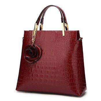 Flower Faux Leather Embossing Tote Bag - WINE RED WINE RED