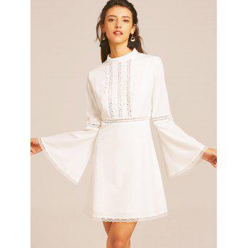 Lace Trim Bell Sleeve Flare Dress - WHITE L