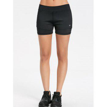 Overlay Slit Gym Shorts - BLACK L