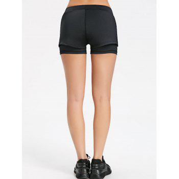 Overlay Slit Gym Shorts - BLACK XL