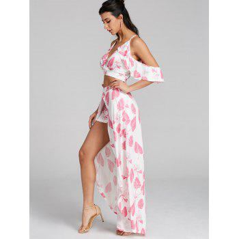Leaves Printed Cropped Top and Maxi Skirted Shorts - LIGHT PINK L