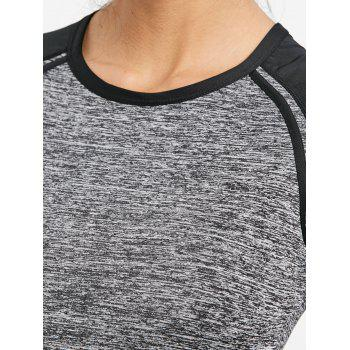 Heather Raglan Sleeve Workout T-shirt - FEATHER GRAY L