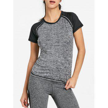 Heather Raglan Sleeve Workout T-shirt - FEATHER GRAY FEATHER GRAY