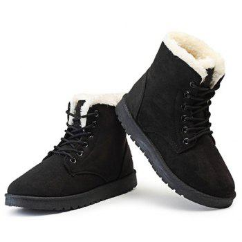 Faux Fur Lined Flat Ankle Boots - BLACK 40