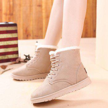 Faux Fur Lined Flat Ankle Boots - OFF WHITE 40