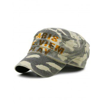 PARIS SEE VIEW PLAY Pattern Embellished Military Hat - GRAY GRAY
