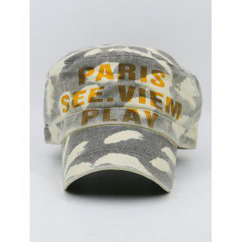 PARIS SEE VIEW PLAY Pattern Embellished Military Hat -  GRAY