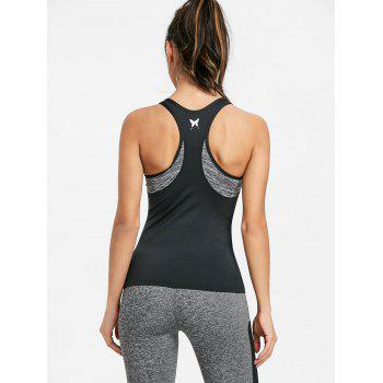 Color Block Racerback Workout Tank Top - FEATHER GRAY L