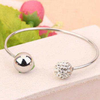Artificial Crystal Ball Cuff  Bracelet - SILVER