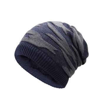 Multifunctional Ponytail Thicken Knitted Beanie Hat - CERULEAN
