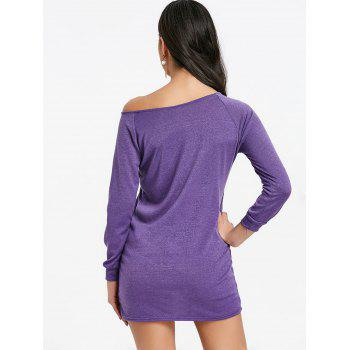 Mini Skew Neck Sweater Dress - PURPLE M