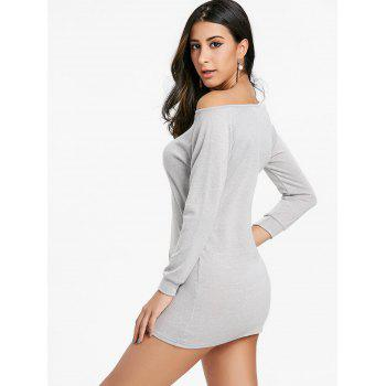 Mini Skew Neck Sweater Dress - LIGHT GRAY S