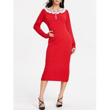 Lace Panel Midi Sweater Dress - RED RED