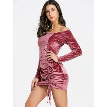 Off Shoulder Velvet Ruched Dress - PINK 2XL