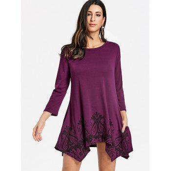 Floral Print Handkerchief Pockets Dress - PURPLE RED S