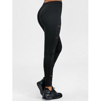 Fishnet Insert Ripped Leggings - BLACK L