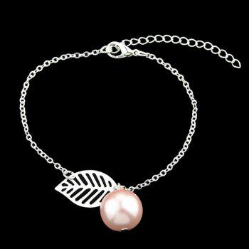 Alloy Simple Leaf Bead Bracelet Set -  SILVER