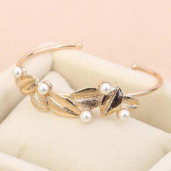 Leaf Faux Pearls Embellished Cuff Bracelet -  GOLDEN