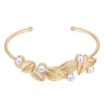 Leaf Faux Pearls Embellished Cuff Bracelet - GOLDEN GOLDEN