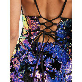 Spaghetti Strap Sequin Lace Up Club Dress - multicolorcolore M