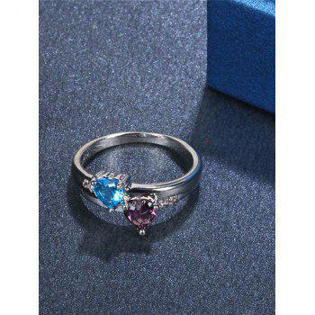 Rhinestone Valentine's Day Lover Heart Ring - SILVER 8